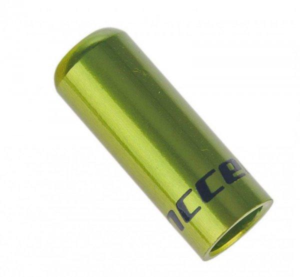 Końcówka pancerza przerzutki ACCENT 4mm alum. zielona 1szt