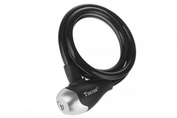 Zapięcie spiralne na klucz TonyOn TY560 10x1200mm czarne