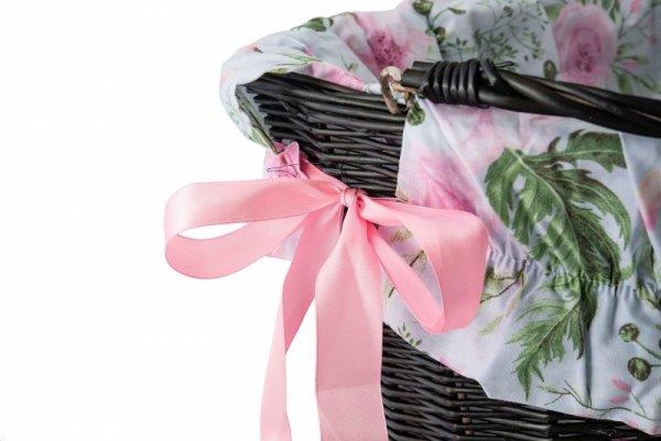 Wkładka do koszyka materiałowa, biała w różowe kwiaty GARDEN