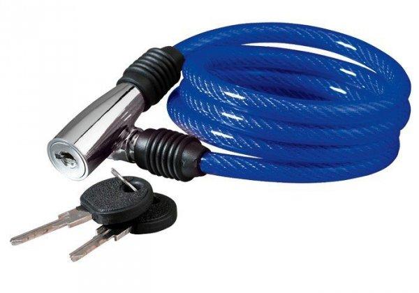 Zamknięcie rowerowe spiralne KELLYS Beat K-1026S na klucz 100cm niebieskie