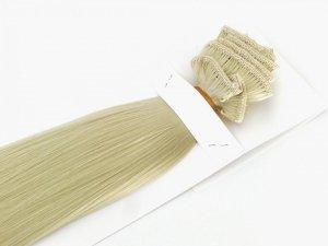 Syntetyczny zestaw Clip-in, długość 55 cm kolor #88 - Bardzo jasny lodowy blond