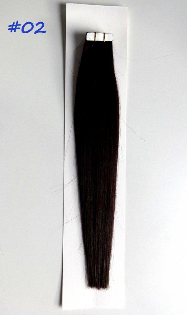Zestaw Tape on, długość 40 cm, kolor #02- Ciemny brąz
