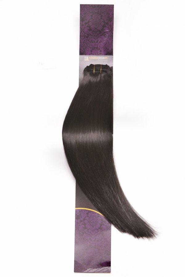 Zestaw Clip-in, długość 45 cm kolor #1B - BARDZO CIEMNY BRĄZ 150g