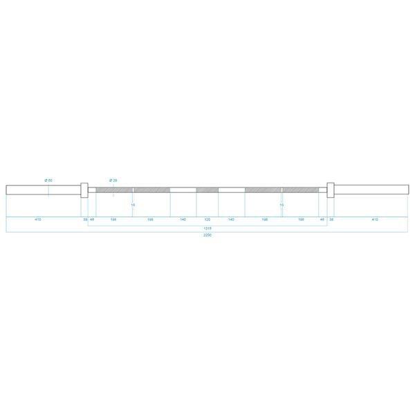 GCF700 GRYF OLIMPIJSKI 20 KG 2200MM + ZACISK ZG1000 BLACK HMS PREMIUM