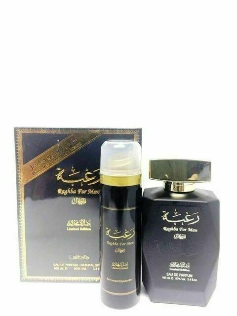 Lattafa Raghba Man woda perfumowana 100ml + dezodorant Spray 50ml