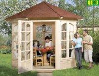 Drewniana altana ogrodowa BERGENIA 4x szkło + podłoga