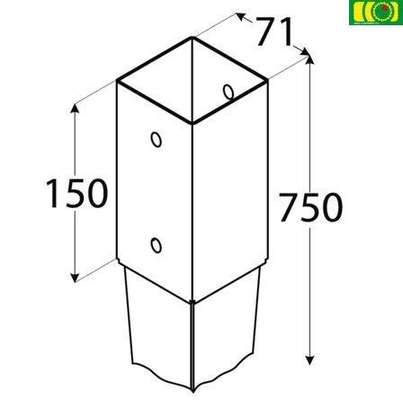 Metalowa kotwa wbijana 70x70