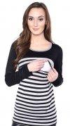 MijaCulture - 2 w 1 bluzka ciążowa i do karmienia w paski 4021/M39 czarny 2