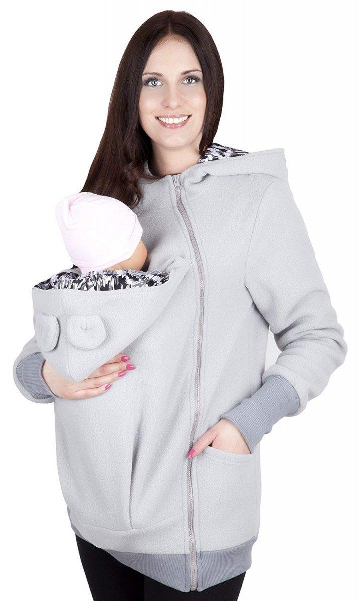 MijaCulture - bluza polarowa do noszenia dziecka 4019A/M21 szary