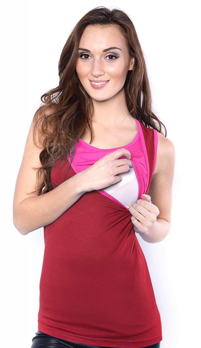 MijaCulture - dwukolorowy top ciążowy i do karmienia 4014/M32 burgund/róż