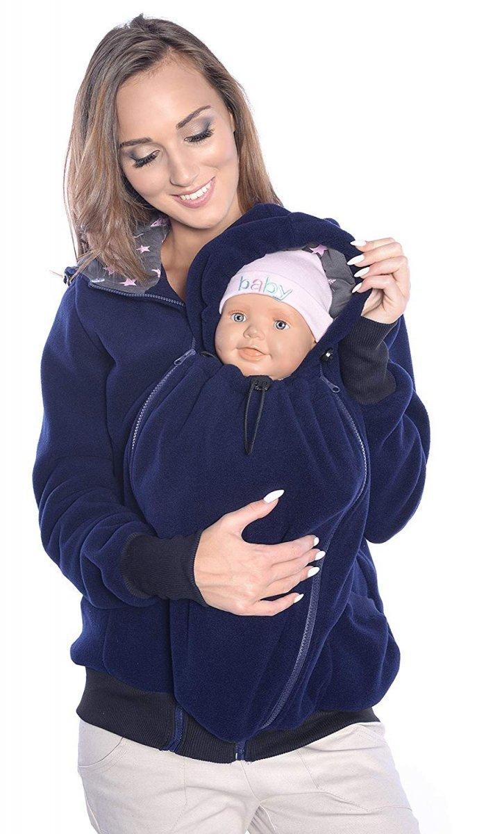 MijaCulture - 3 w1 bluza polarowa 3D ciążowa i do noszenia dziecka  4047/M51 ciemny granat