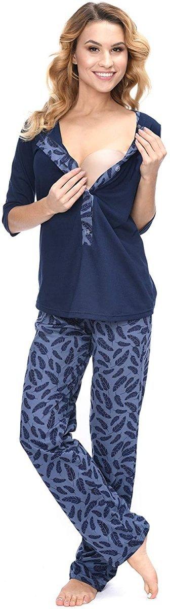 MijaCulture - 3 w 1 piżama ciążowa i do karmienia 4054/M52 granat/piórka3