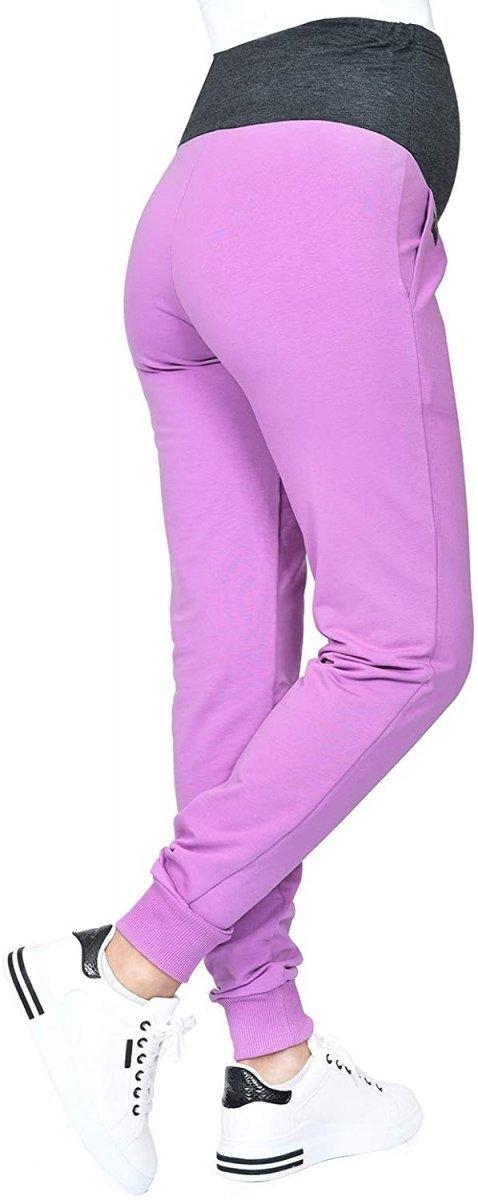 MijaCulture Wygodne spodnie dresowe ciążowe Coco M003 róż3
