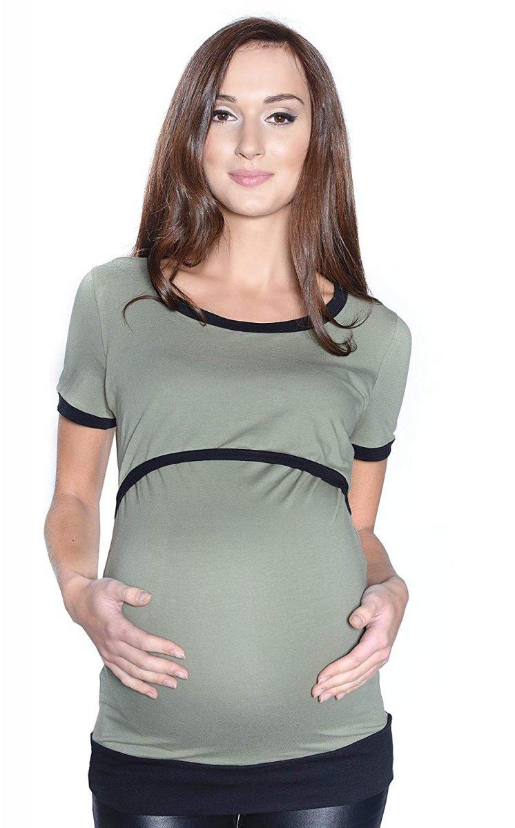 """Wygodna bluzka 2 w 1 ciążowa i do karmienia na co dzień """"Mandy"""" krótki rękaw 9048 khaki/czarny"""