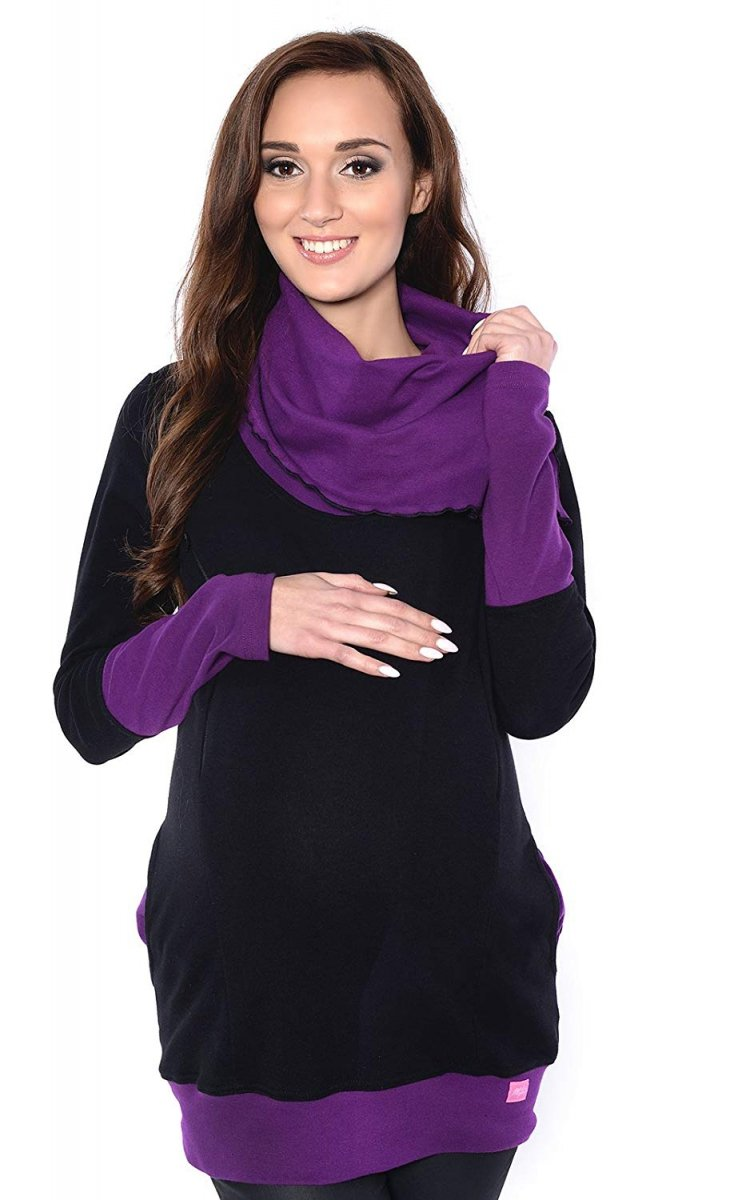 MijaCulture - bluza 3 w1 ciążowa  i do karmienia z asymetrycznym kołnierzem 4020/M05 czarny/fiolet
