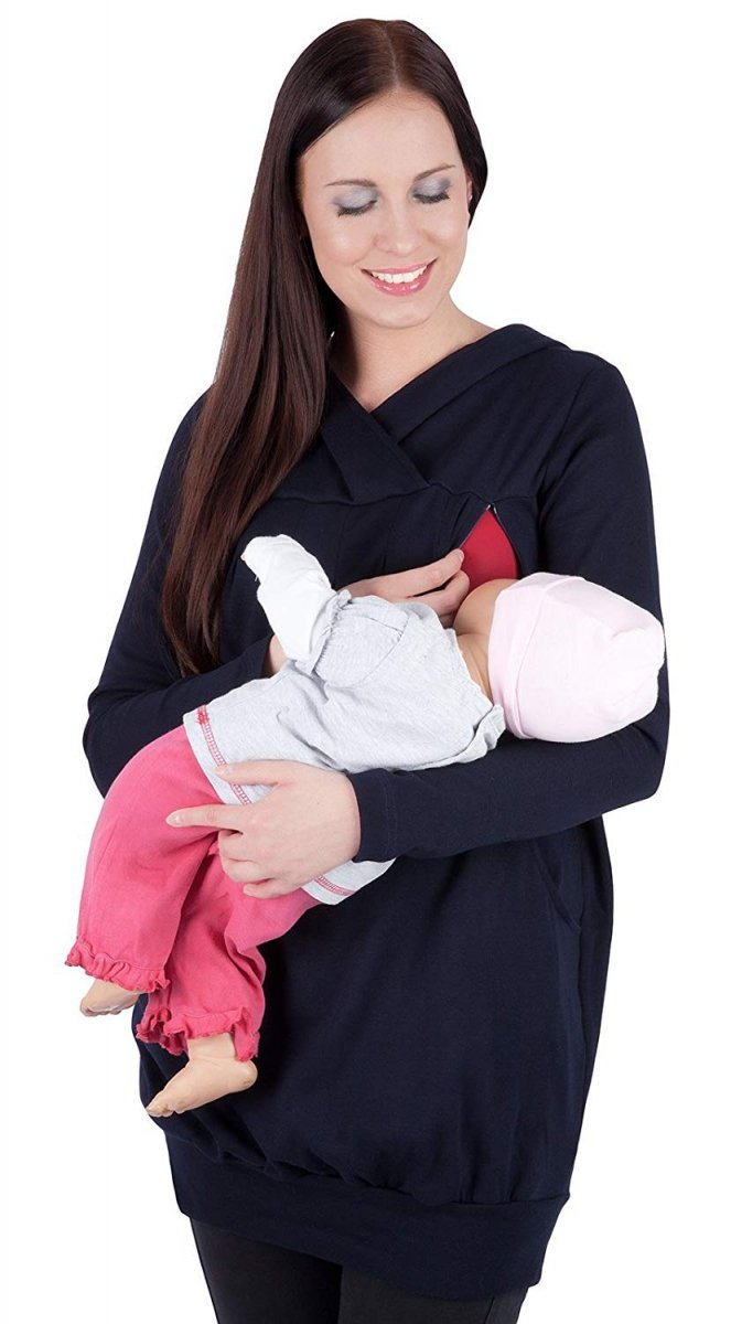 """MijaCulture - bluza 3 w 1 ciążowa i do karmienia z kapturem """"Mimi"""" 7102A granat"""