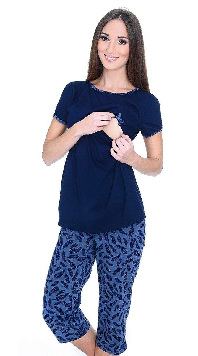 MijaCulture - piżama 3 w 1 ciążowa i do karmienia 4119/M69 granat/piórka