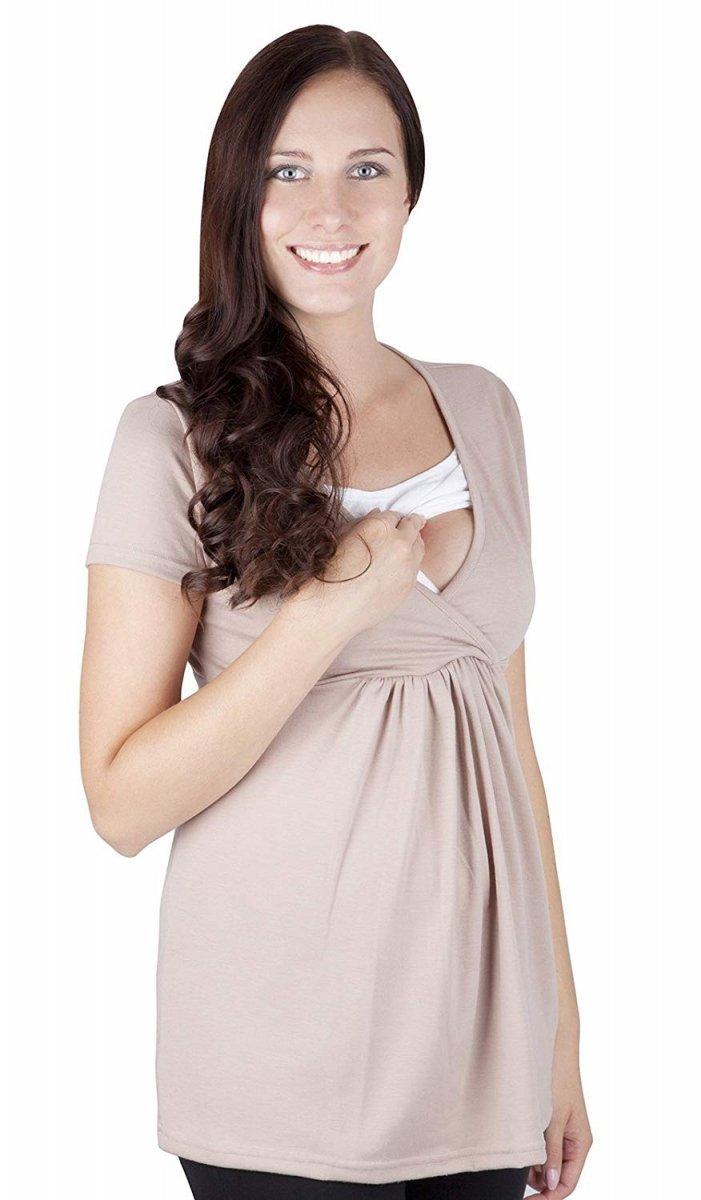 """MijaCulture - bluzka ciążowa 2 w 1 ciążowa i do karmienia krótki rękaw """" Dora"""" 7104  beż"""