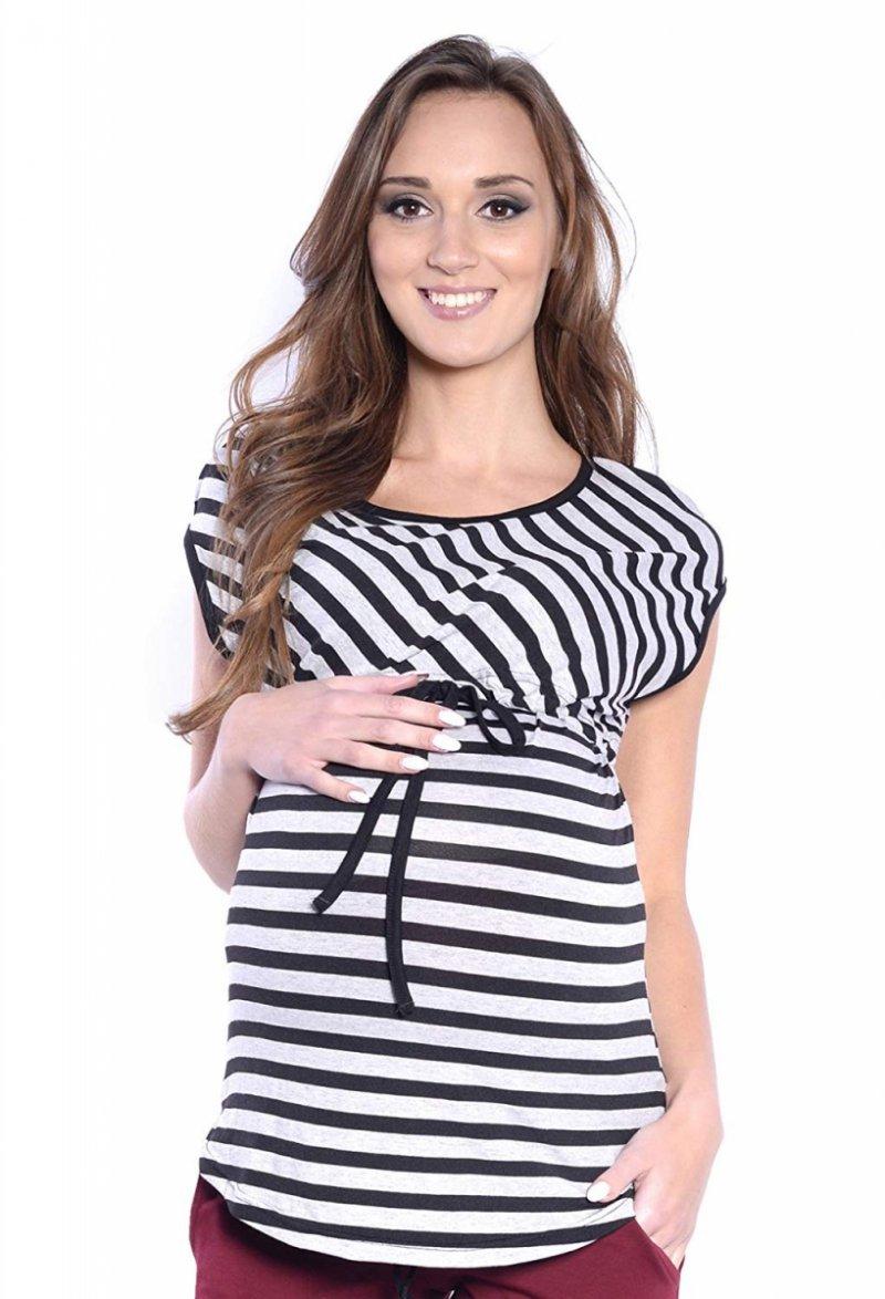 MijaCulture - 2 w 1 bluzka ciążowa i do karmienia w paski 4093/M65 szary/czarny