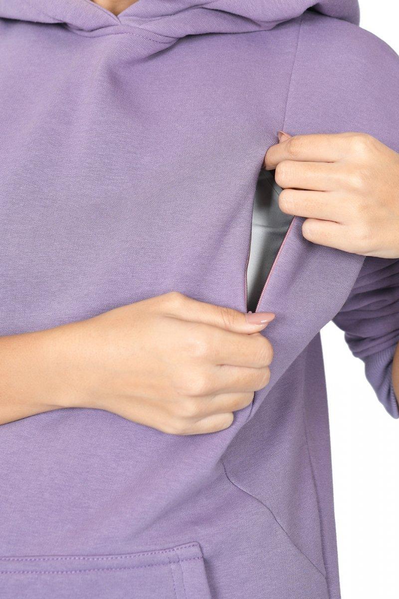 """MijaCulture - 3 w 1 ciepła bluza ciążowa i do karmienia z kapturem """"Molly """" M001 lavenda"""