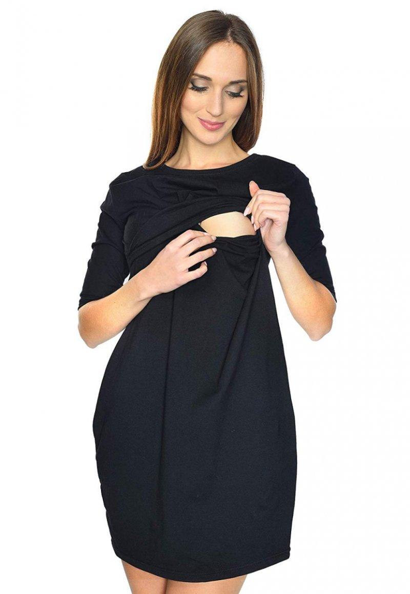 """Zjawiskowa sukienka ciążowa i do karmienia """"Una"""" 7142 czarna"""