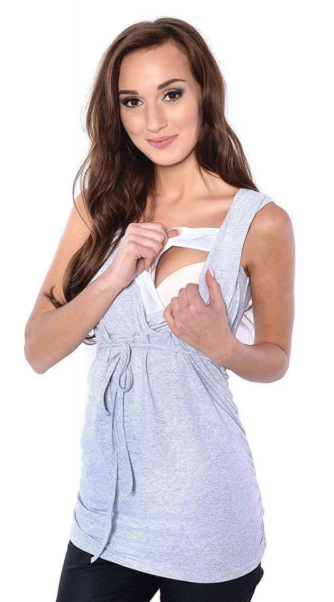 MijaCulture - bluzka 2 w 1 ciążowa i do karmienia M14/3092 melanż