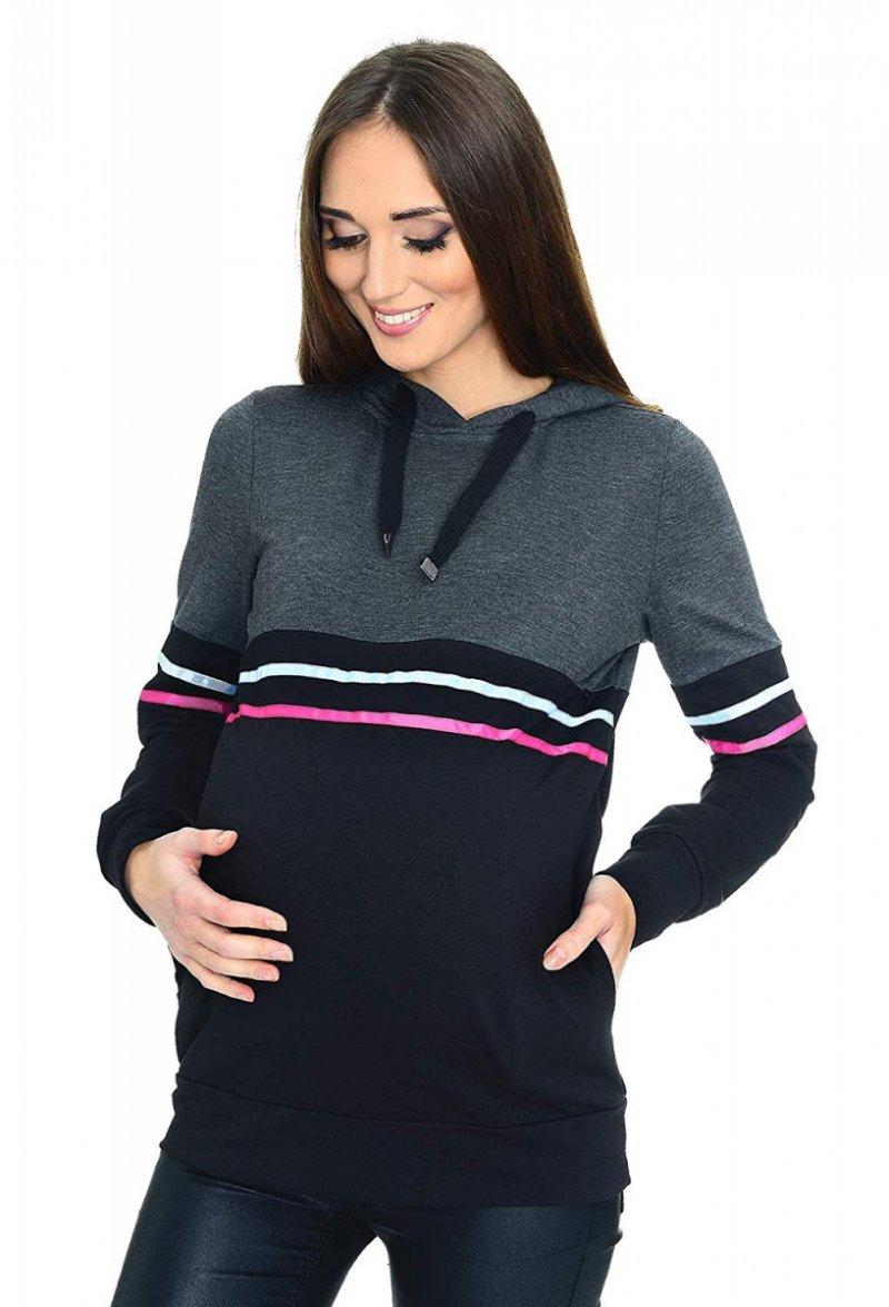 MijaCulture - 3 w 1 bluza ciążowa i do karmienia M72 4111 grafit/czarny