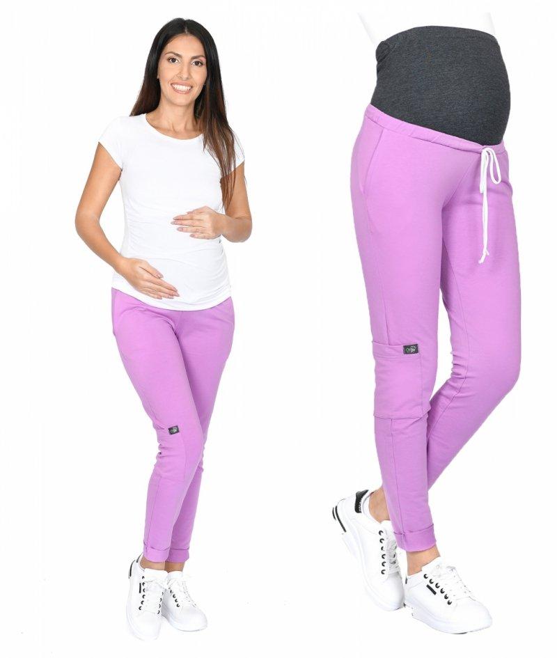 MijaCulture Wygodne spodnie dresowe ciążowe ZOE M002 róż