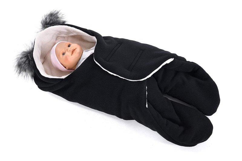 MijaCulture Polarowy otulacz do fotelika nosidła 4126 odpinane uszy czarny/szary2