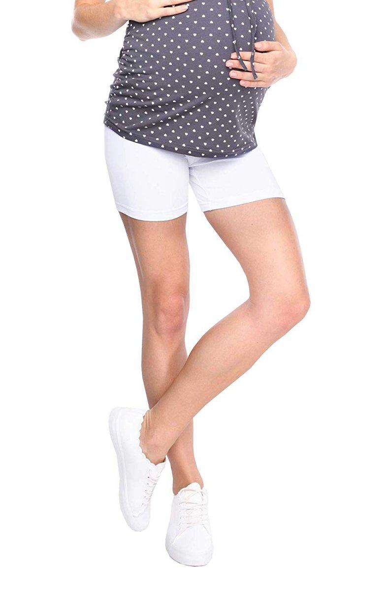 Wygodne krótkie legginsy ciążowe Mama Mia 1053 biały