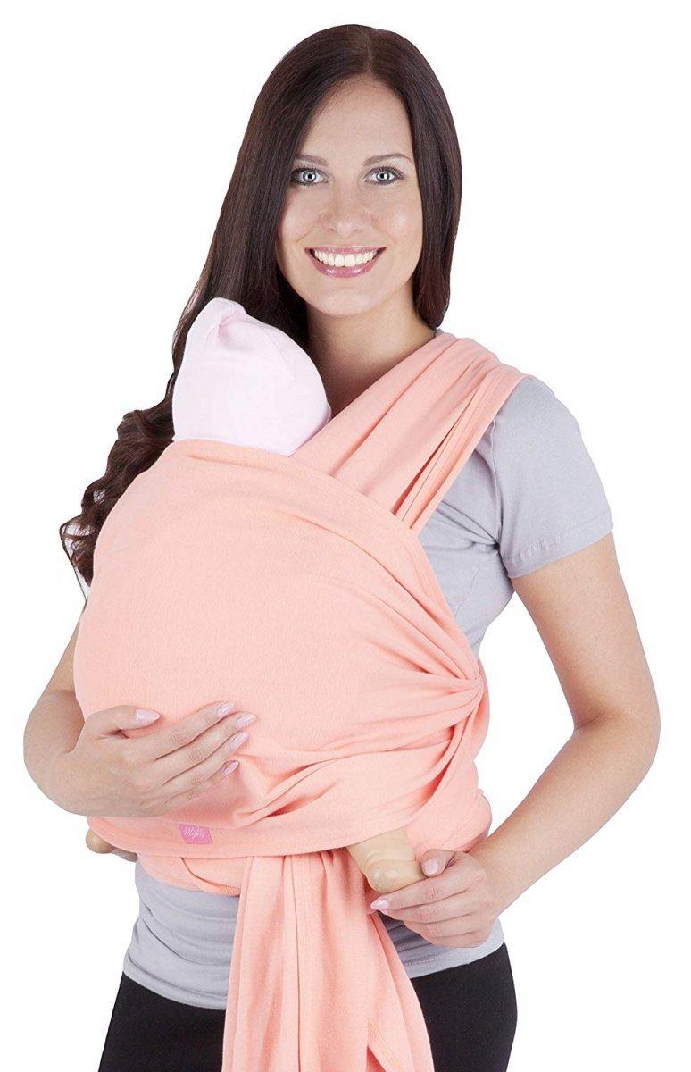 MijaCulture - chusta do noszenia dzieci 4011/M28 jasno brzoskwiniowy