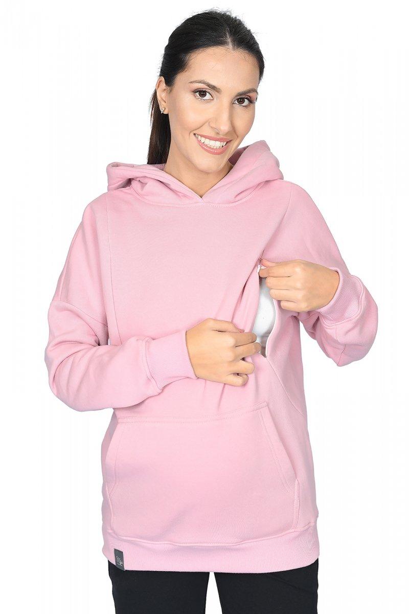"""MijaCulture - 3 w 1 ciepła bluza ciążowa i do karmienia z kapturem """"Molly """" M001 róż"""