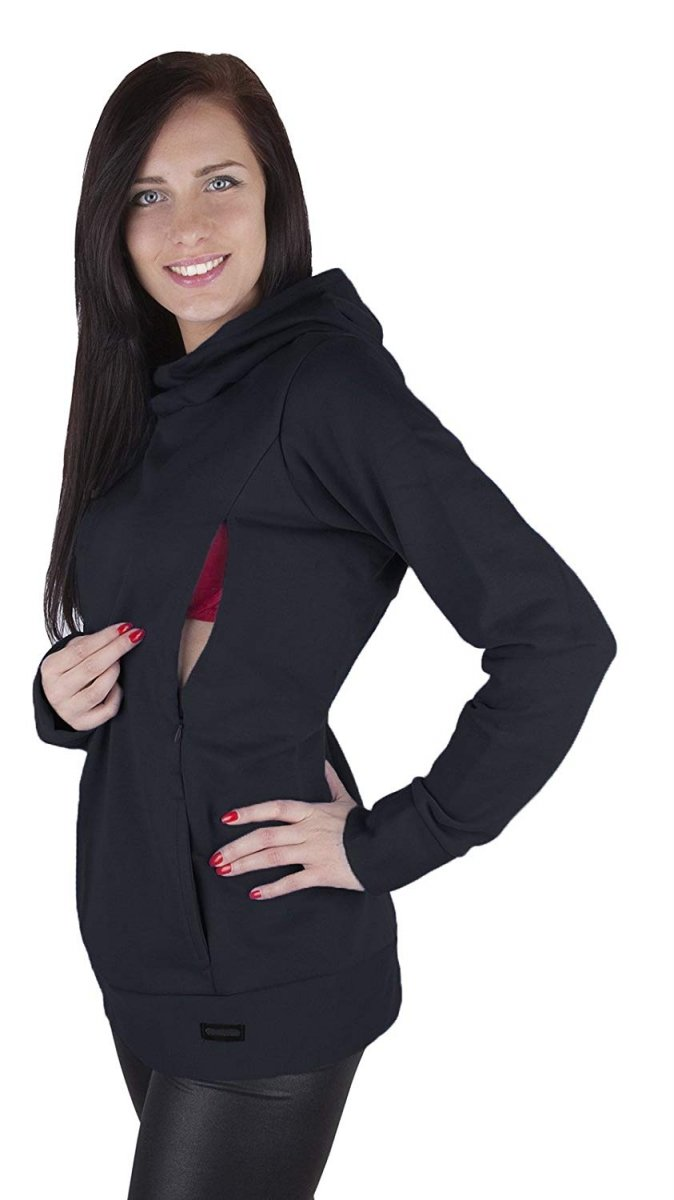 MijaCulture – 3 w 1 ciepła bluza ciążowa i do karmienia 1101 czarny