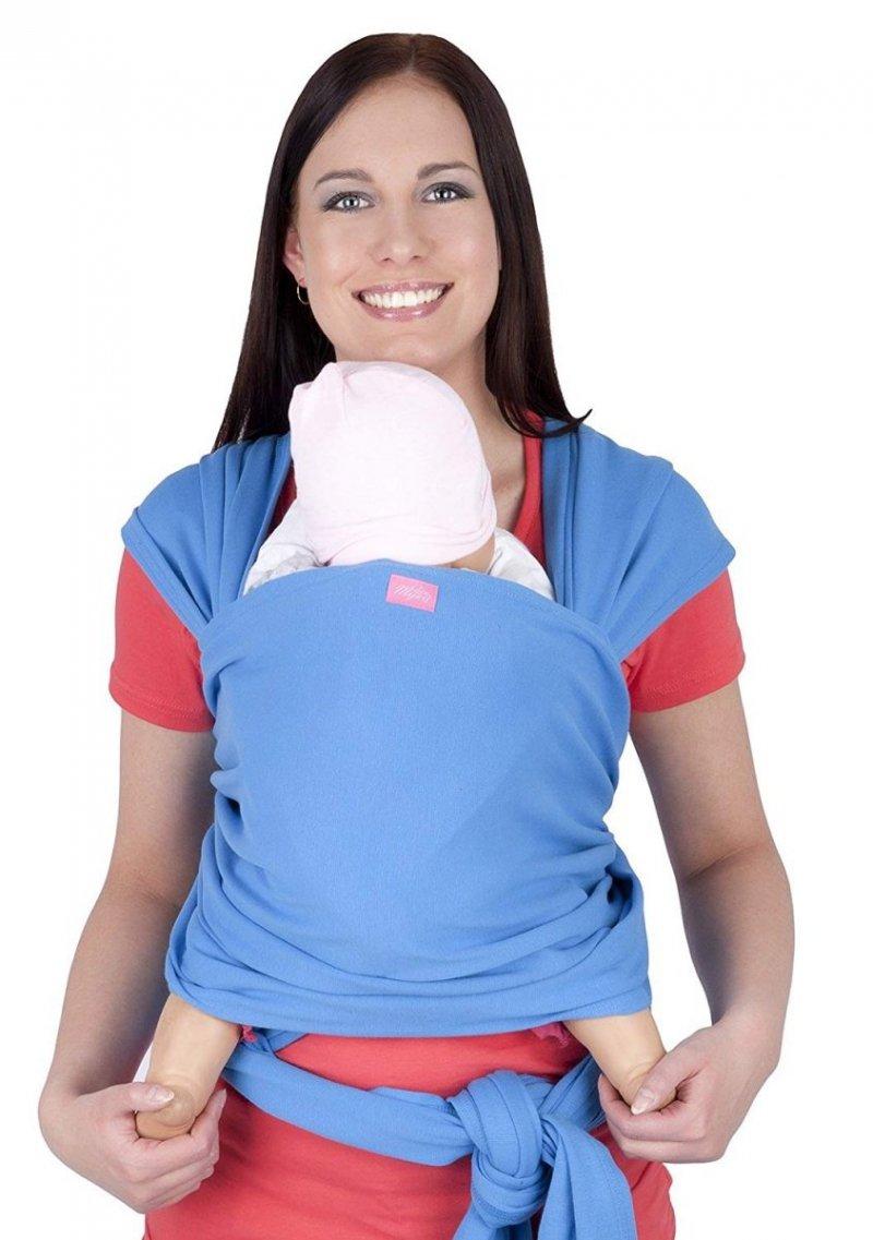 MijaCulture - chusta do noszenia dzieci 4011/M28 jasno niebieski