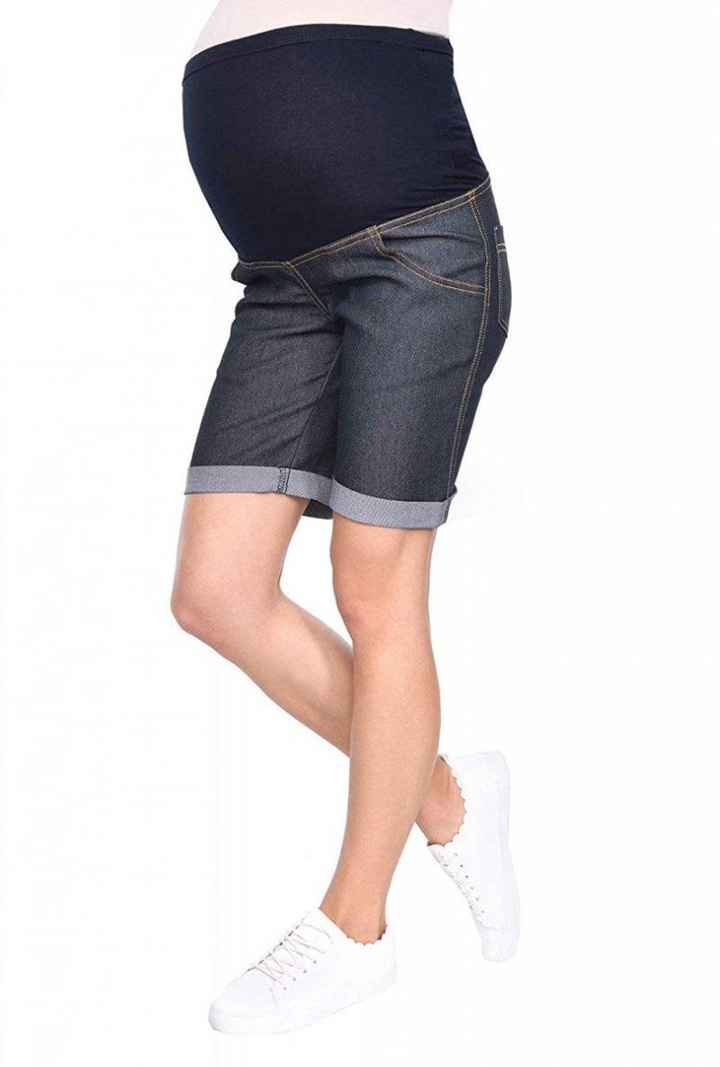 MijaCulture - szorty bermudy ciążowe 4006/M26 denim blue