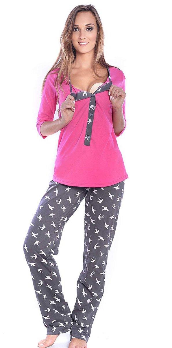 MijaCulture - 3 w 1 piżama ciążowa i do karmienia 4054/M52 róż/grafit