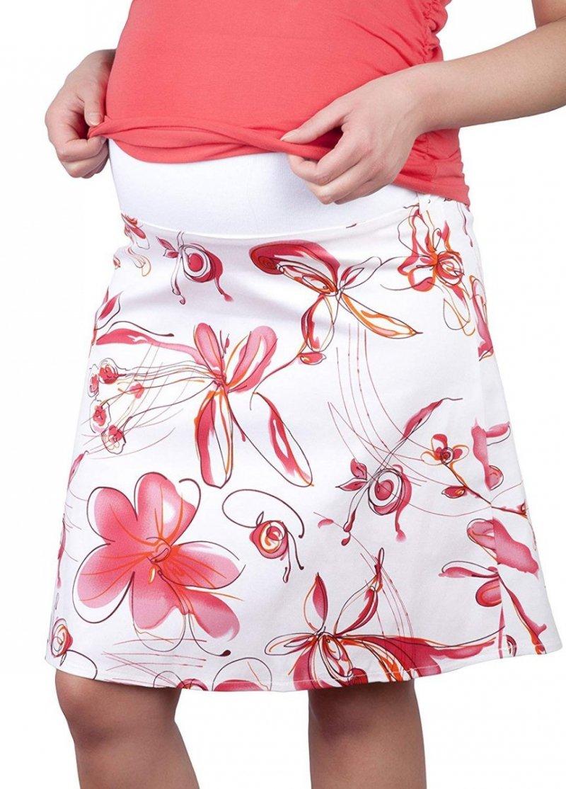 MijaCulture - spódnica ciążowa w kwiaty 1044/M64 różowy
