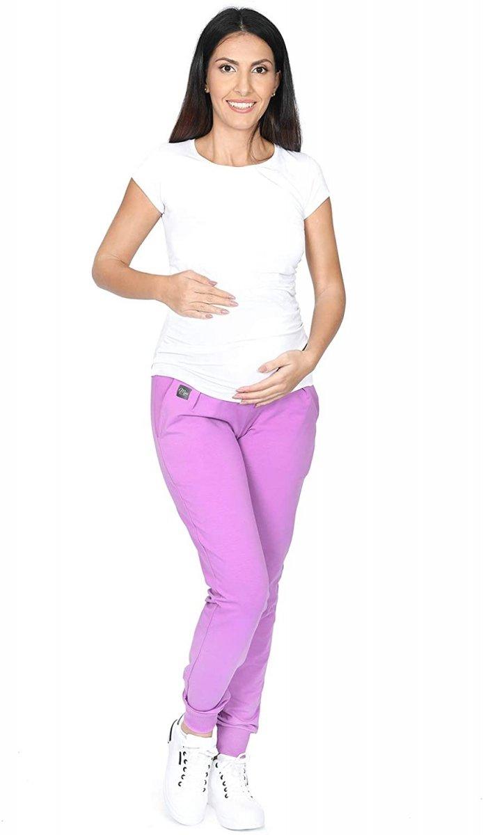 MijaCulture Wygodne spodnie dresowe ciążowe Coco M003 róż4