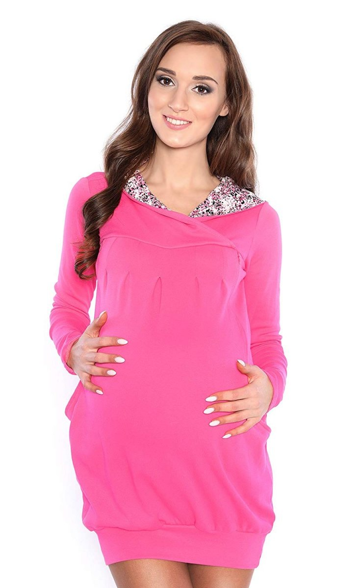 """MijaCulture - bluza 3 w 1 ciążowa i do karmienia z kapturem """"Mimi"""" 7102A róż"""
