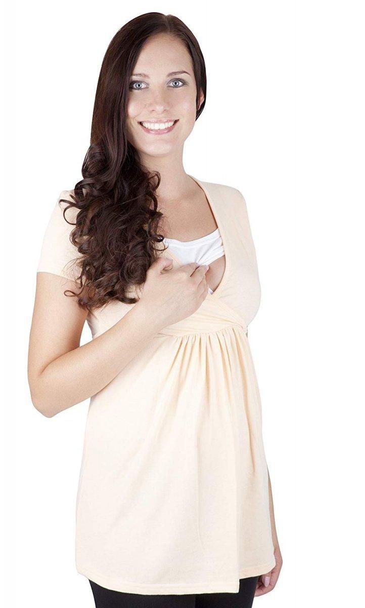"""MijaCulture - bluzka ciążowa 2 w 1 ciążowa i do karmienia krótki rękaw """" Dora"""" 7104  jasno brzoskwiniowy"""