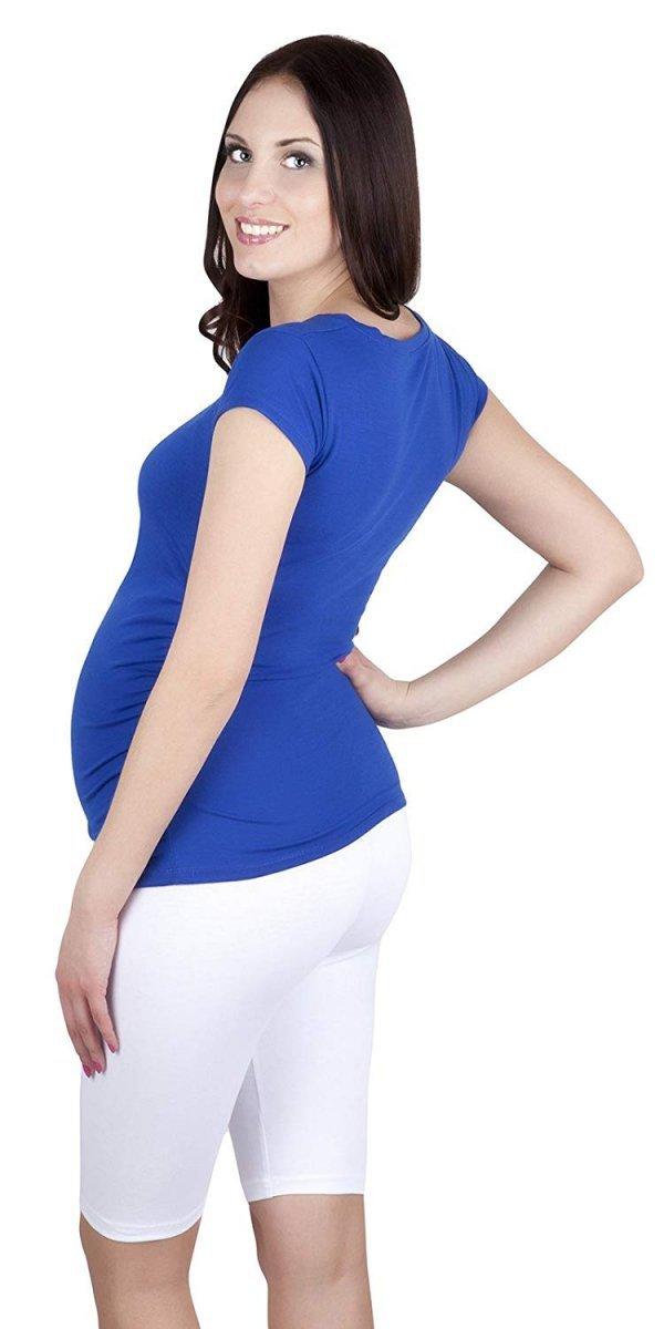 MijaCulture - wygodne krótkie legginsy ciążowe 4008/M25 biały