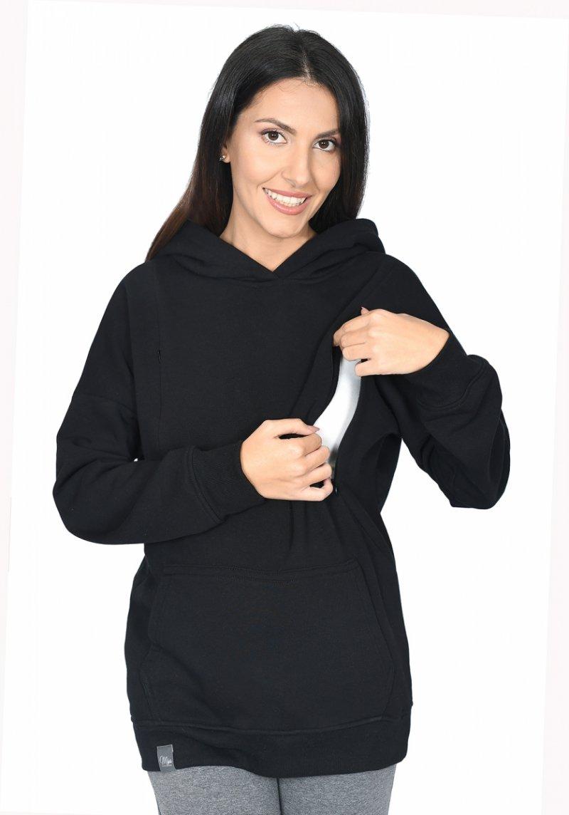 """MijaCulture - 3 w 1 ciepła bluza ciążowa i do karmienia z kapturem """"Molly """" M001 czarny"""