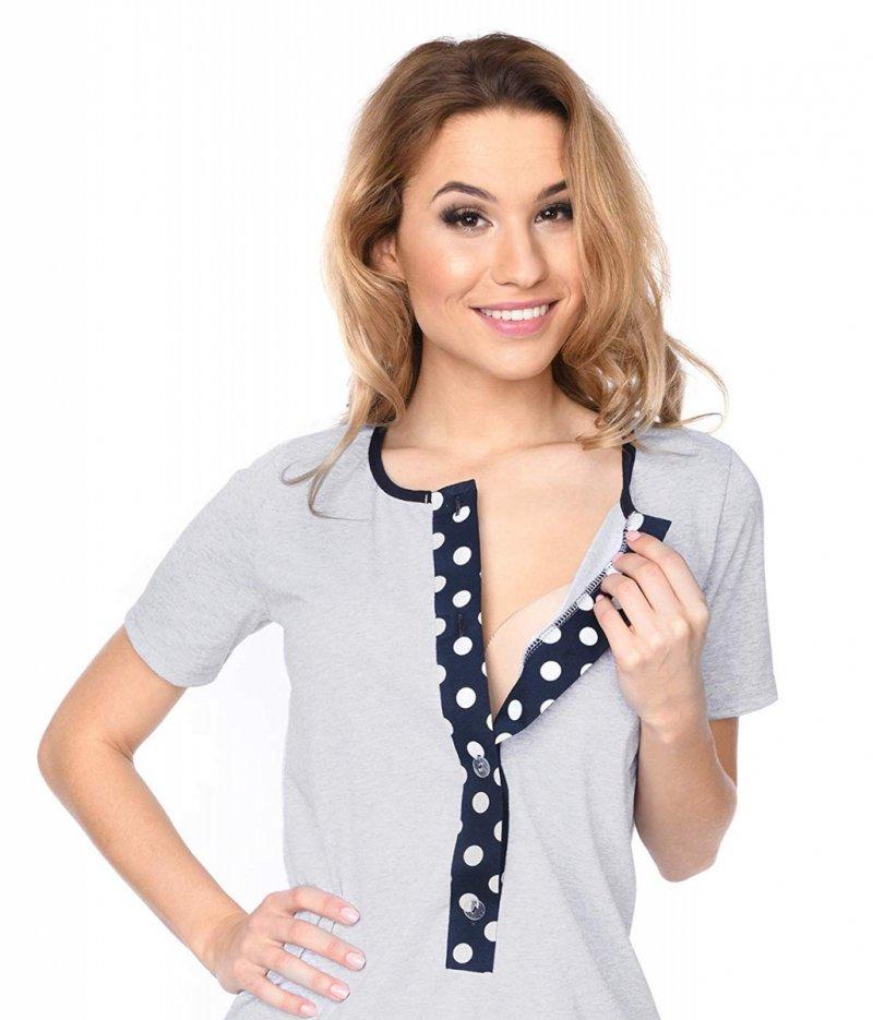 MijaCulture - 3 w 1 piżama ciążowa i do karmienia 4030/M47 melanż/kropki