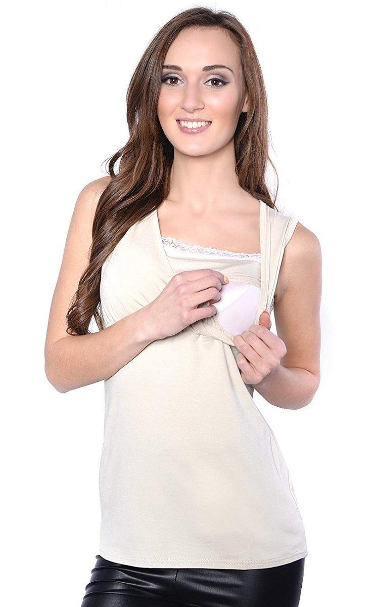 MijaCulture - top ciążowy i do karmienia z koronką  4032/M45 beż