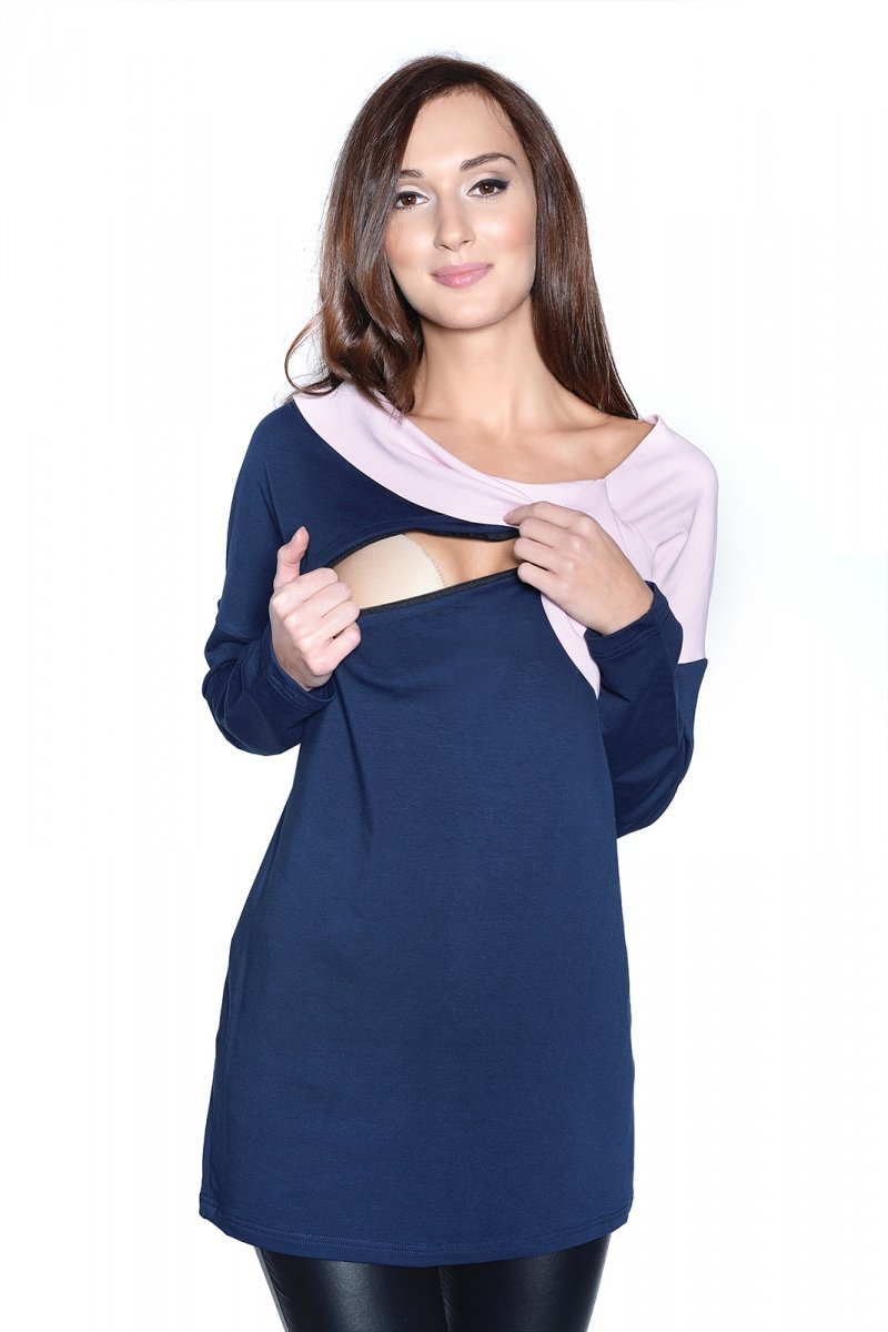 Bluzka ciążowa i do karmienia Ada 9061 dł. rękaw granat/róż