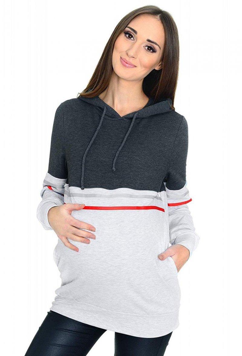 MijaCulture - 3 w 1 bluza ciążowa i do karmienia M72 4111 grafit/melanż