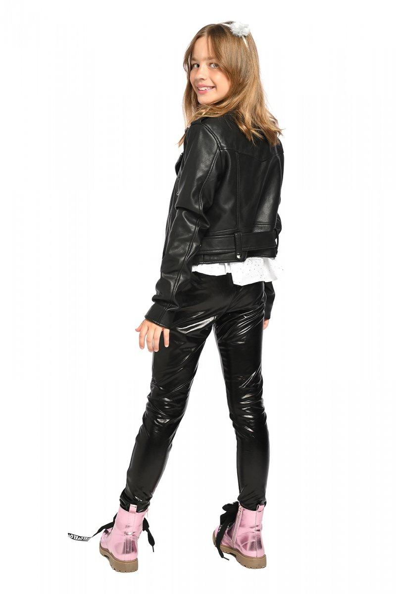 Legginsy dziewczęce spodnie a'la latex imitacja skóry Letti