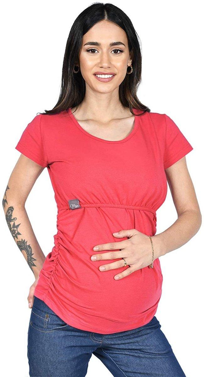 MijaCulture - bluzka 2 w 1 ciążowa i do karmienia krótki rękaw M03/3074 koralowy