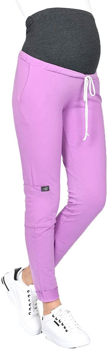 MijaCulture Wygodne spodnie dresowe ciążowe ZOE M002 róż1