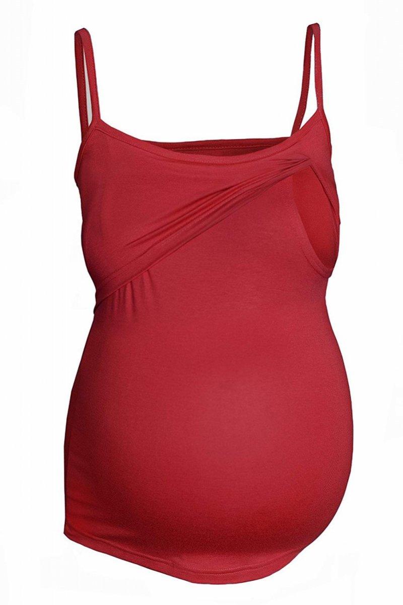 MijaCulture - top na ramiączkach 2 w 1 ciążowy i do karmienia 4029/M46 bordo